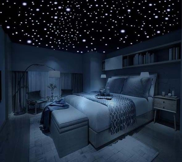 Bedroom With Star Lights Lighting Up The Inside