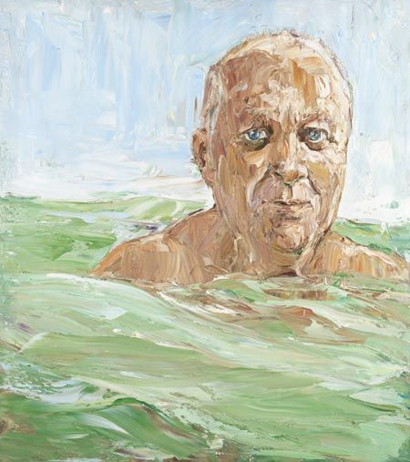 Robert Drewe (in the swell) by Nicholas Harding