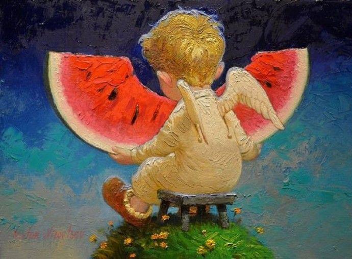 Смотреть мастер класс живописи ангелочек с кленовым листом ...