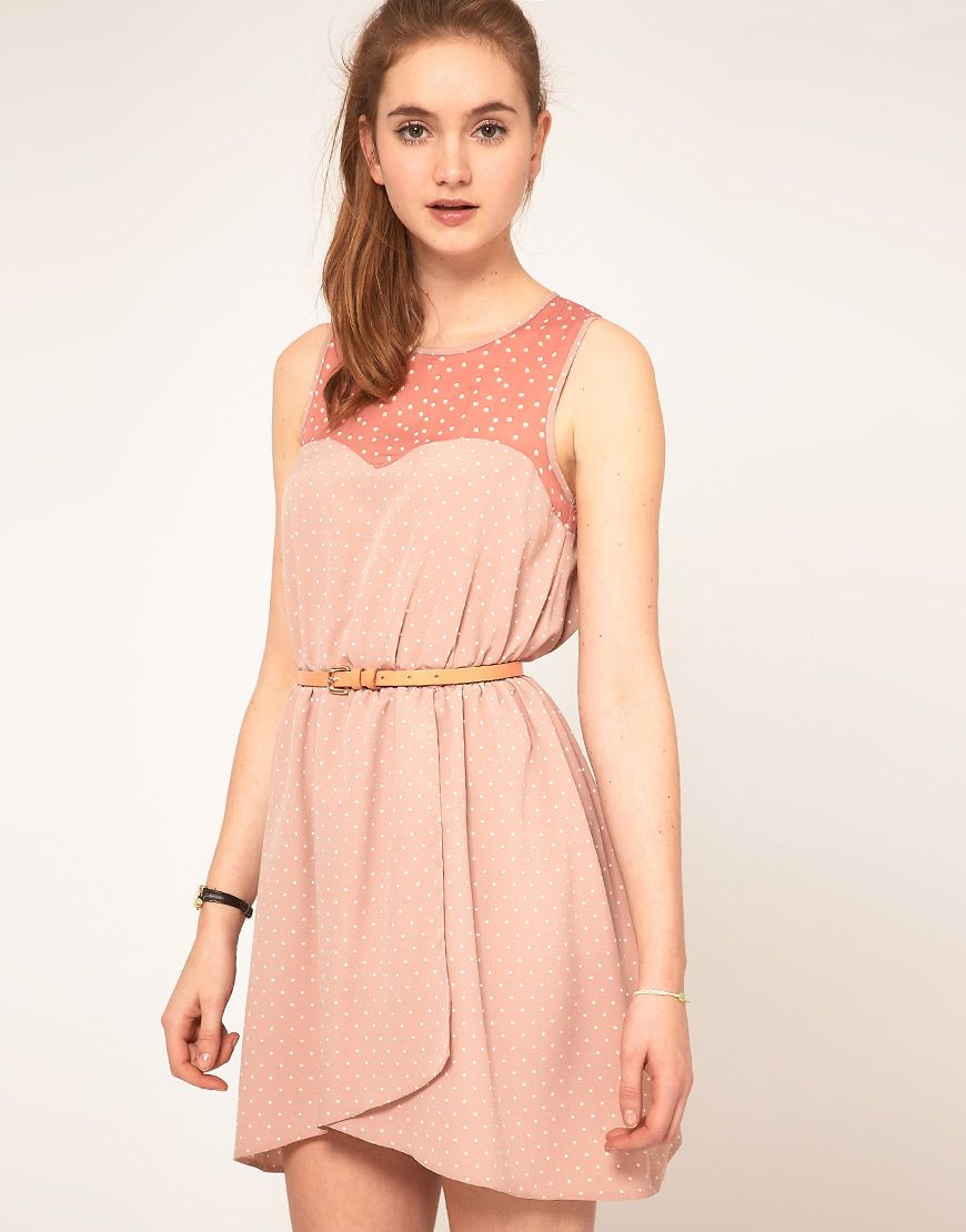 Asos spot dress with contrast spot now with black belt