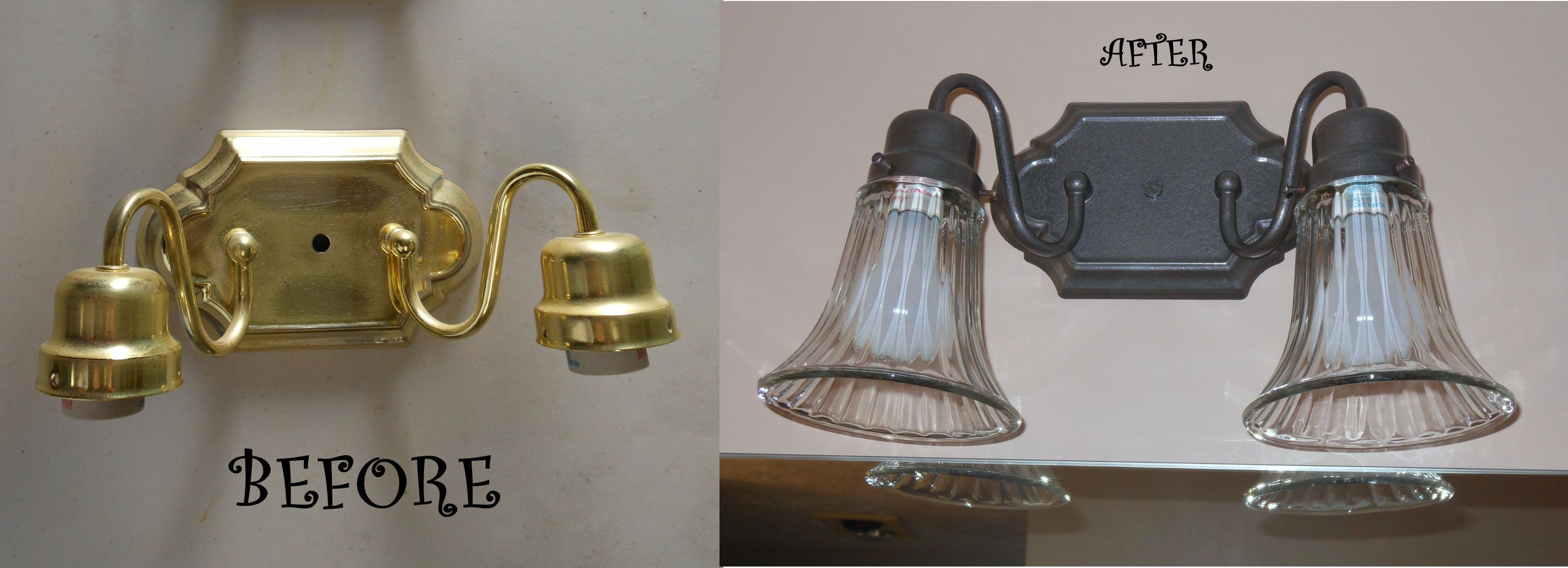 Photo of Brass Light Fixture Redo – Thought about replacing the two shiny brass light fix…