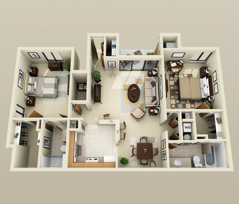 50 Two 2 Bedroom Apartment House Plans Small House Plans 3d