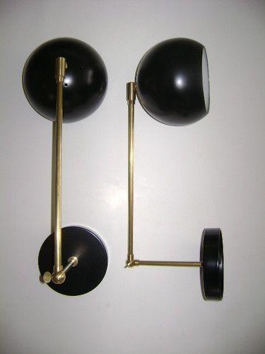 Pair Arteluce Eames Black Brass Ball Sconce Lamps Stilnovo