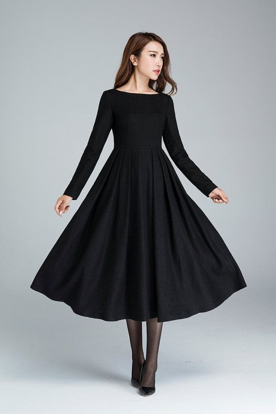 Black wool dress, pleated dress, winter dress, long dress, fitted ...