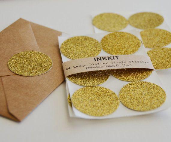 Gold Glitter großen Kreis Aufkleber 24 Aufkleber von inkkit auf Etsy