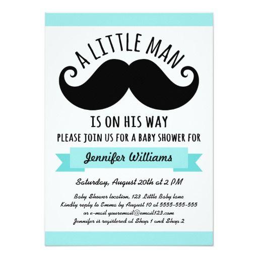 A Little Man, Aqua Blue Mustache Baby Shower Card