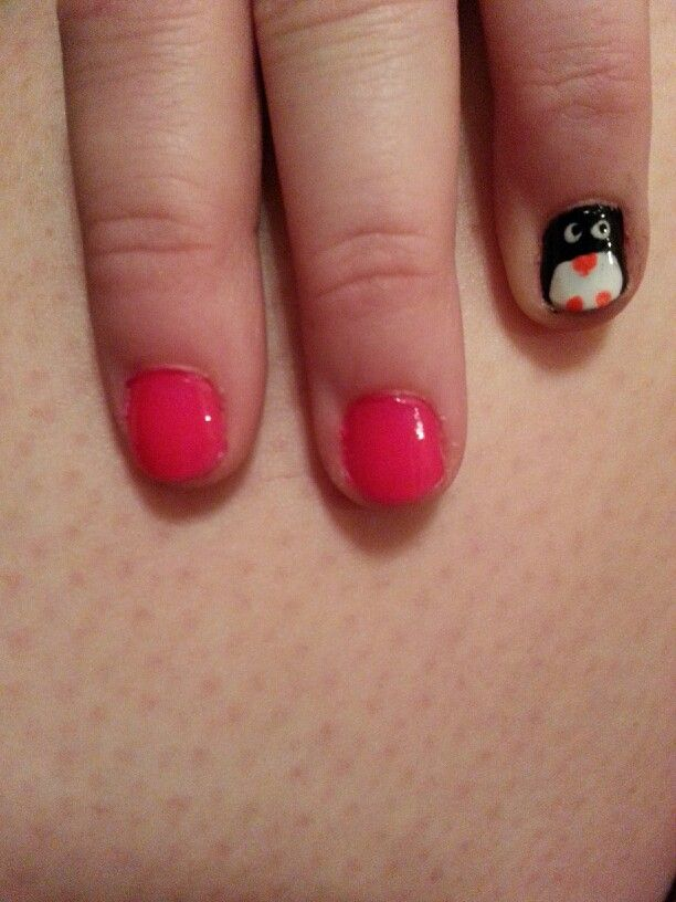 My first try at a penguin nail!