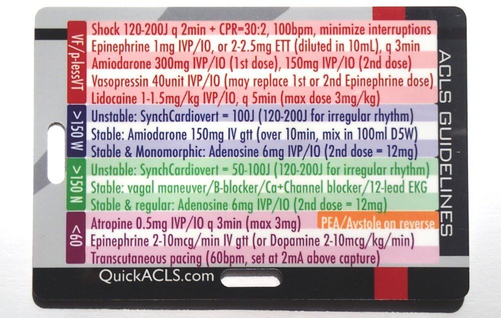 Quick ACLS Reference Card 2015