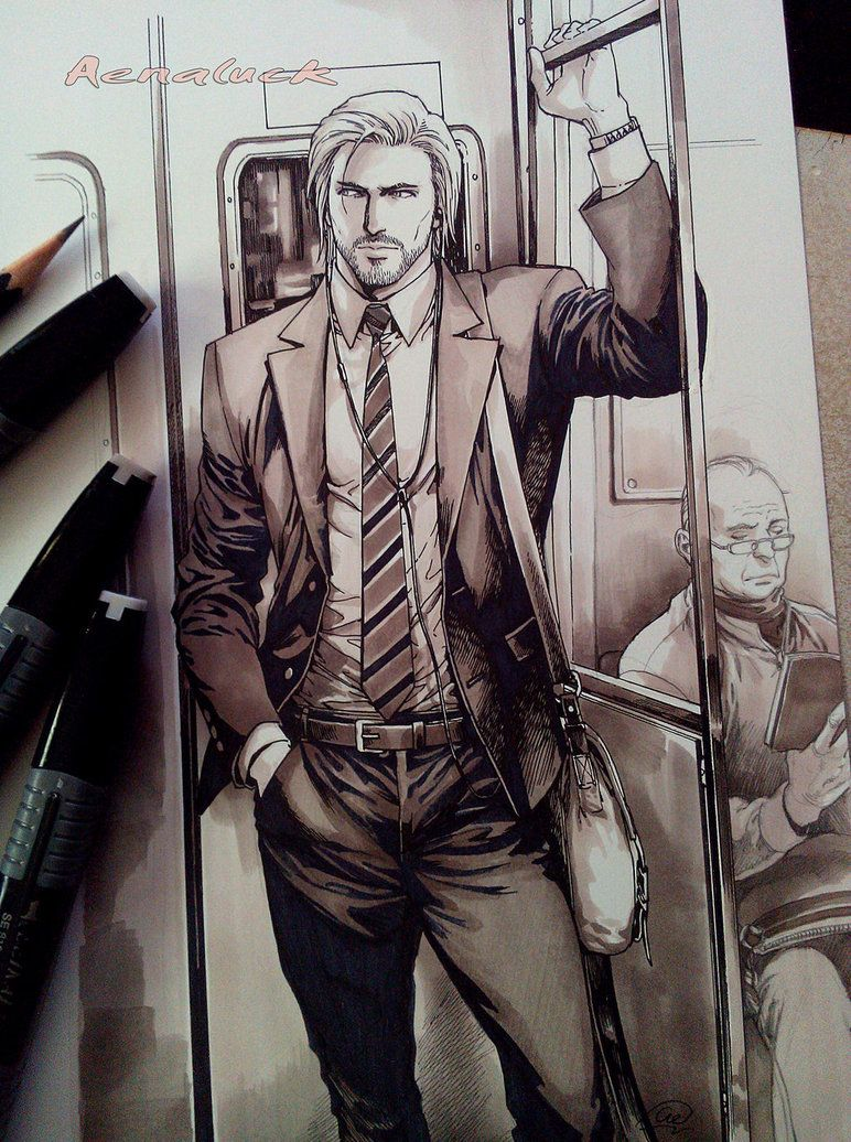 I just want to draw master in office worker outfit hot dude in the trainxd i do color tone with marker pen