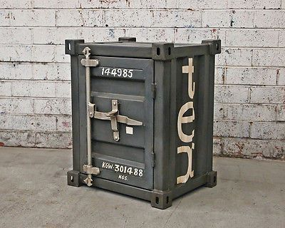 Shipping Container Bedside Side Table Furniture Vintage Retro Locker