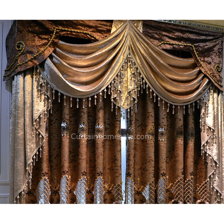 Luxury Victorian Vintage Living Room Curtain In Gold Brown Color Without Valance Living Room Decor Curtains Vintage Living Room Curtains Living Room #vintage #curtains #for #living #room