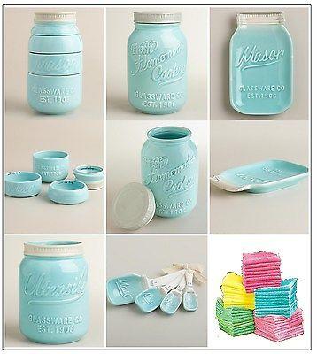 Mason Jar Kitchen Decor Kitchen Decor Set Mason Jar Measuring Cups Spoons Cookie Jar Spoon