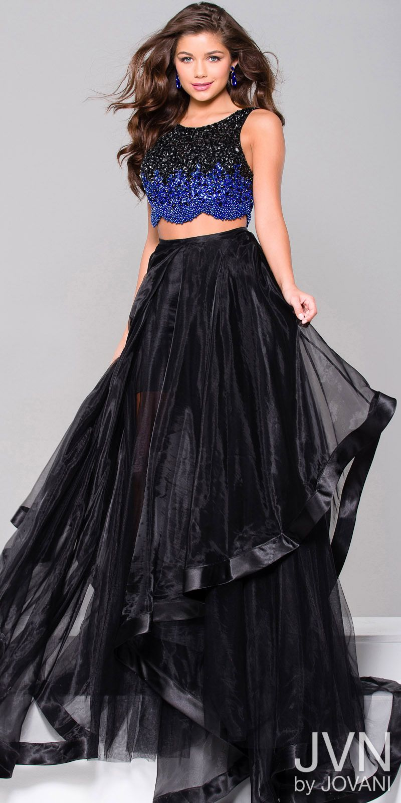 Embellished two piece organza evening dress from jvn by jovani