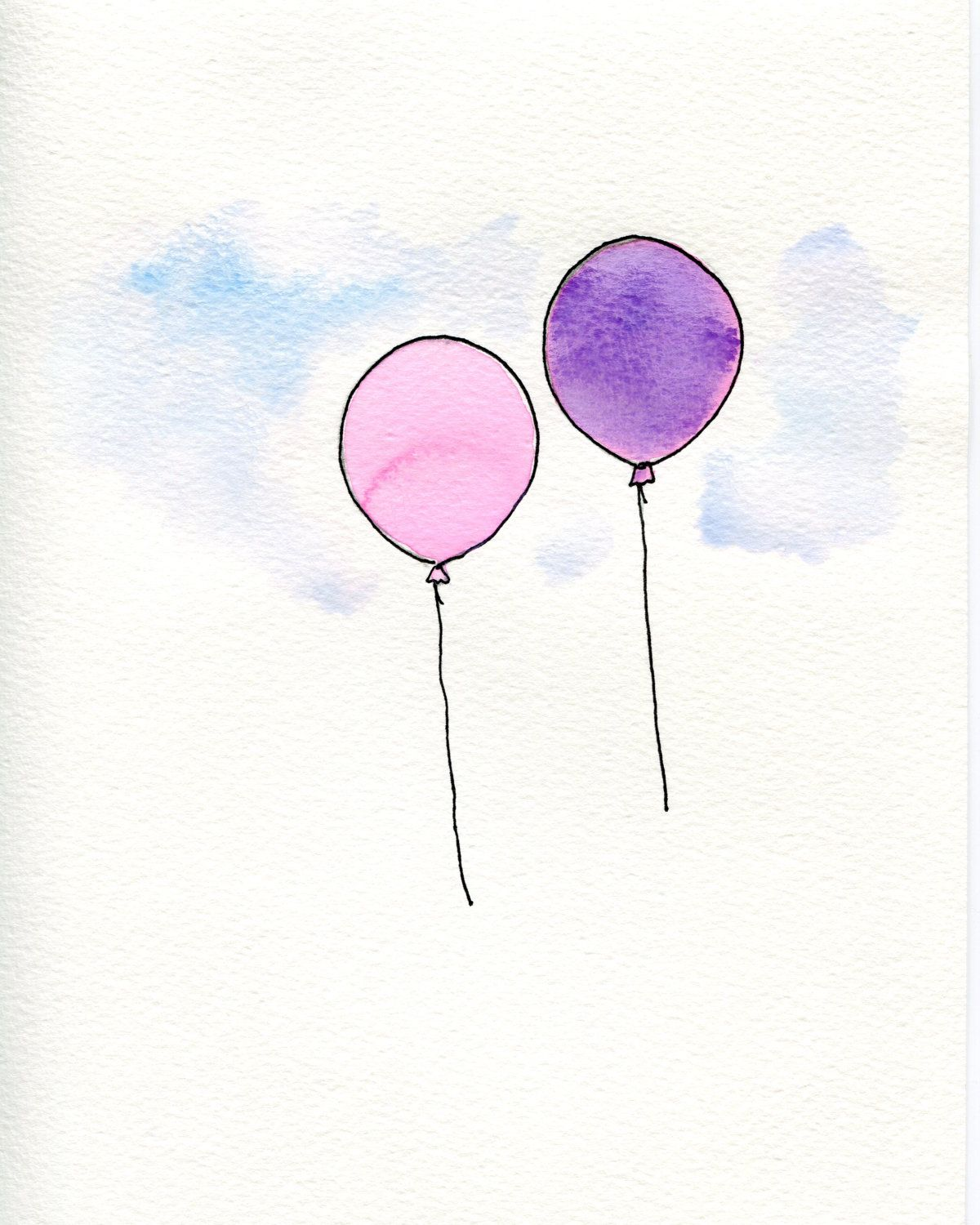 Pink And Purple Watercolor Balloons Illustration 10 00 Via Etsy
