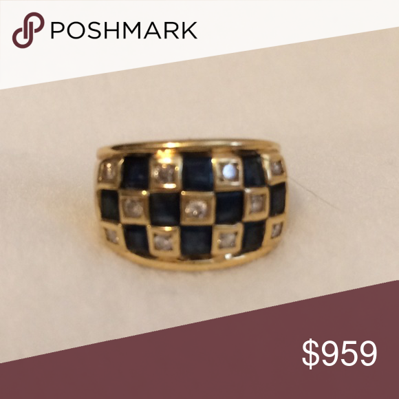 Sapphire & Diamond Checkerboard Ring Sapphire & Diamond Checkerboard Ring set in 18k. Jewelry Rings