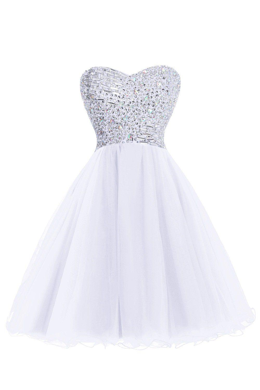 Bess bridal womenus beaded kneelength tulle short prom dresses