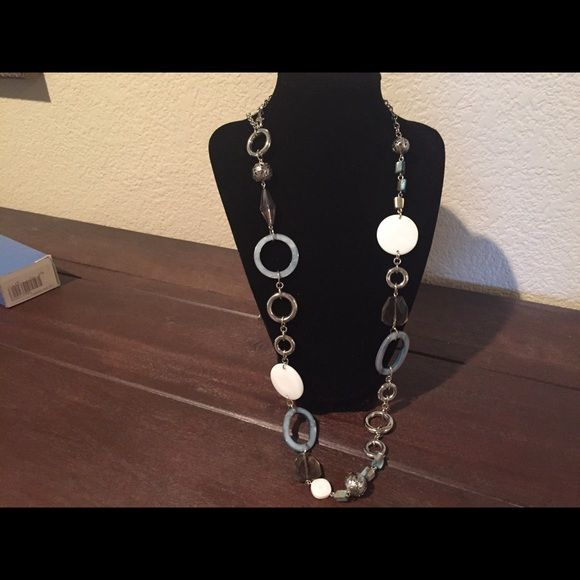 Lia Sophia long necklace. Pretty blue, white, and silver. Geometric shapes. Wear long or doubled. Lia Sophia Jewelry Necklaces
