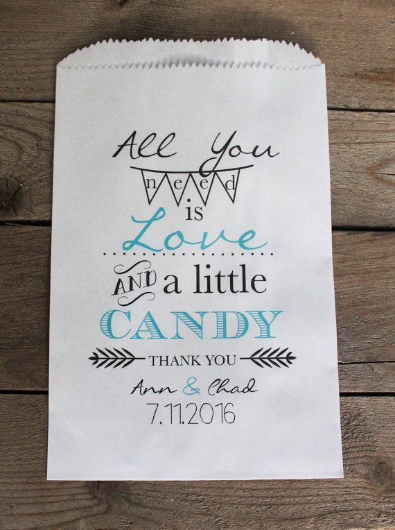 All You Need Is Love Wedding Favor Bags Candy Buffet Personalized