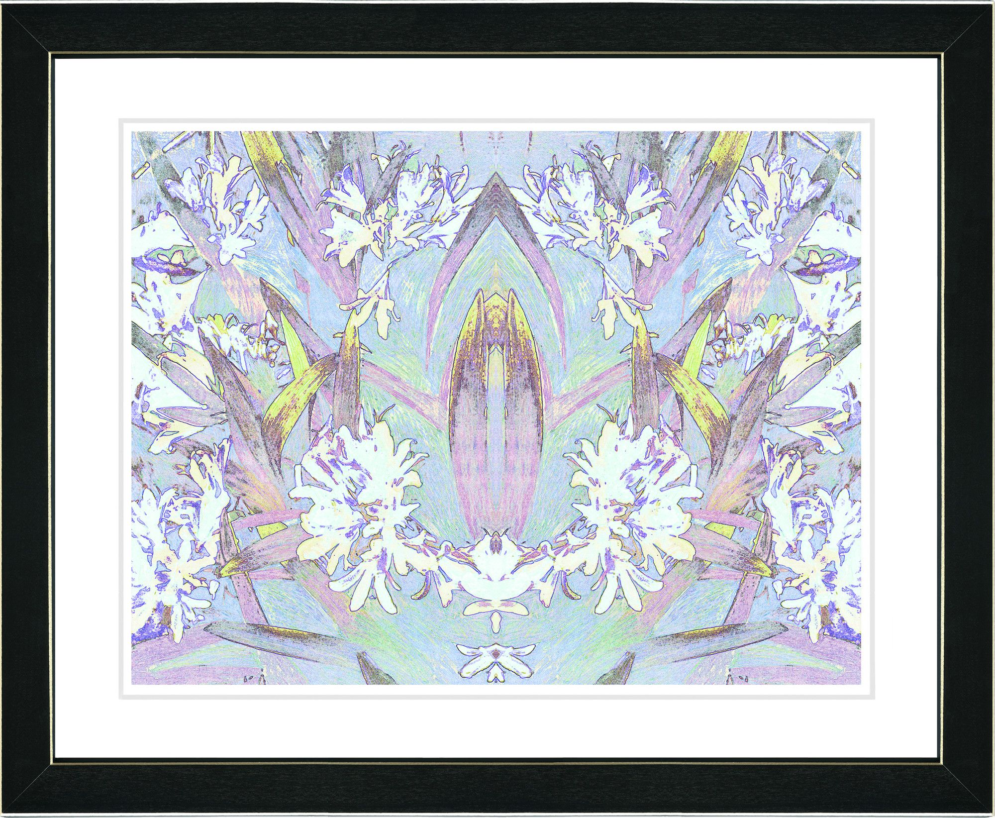 Abstract Spring Floral - Sky Blue by Zhee Singer Framed Painting Print