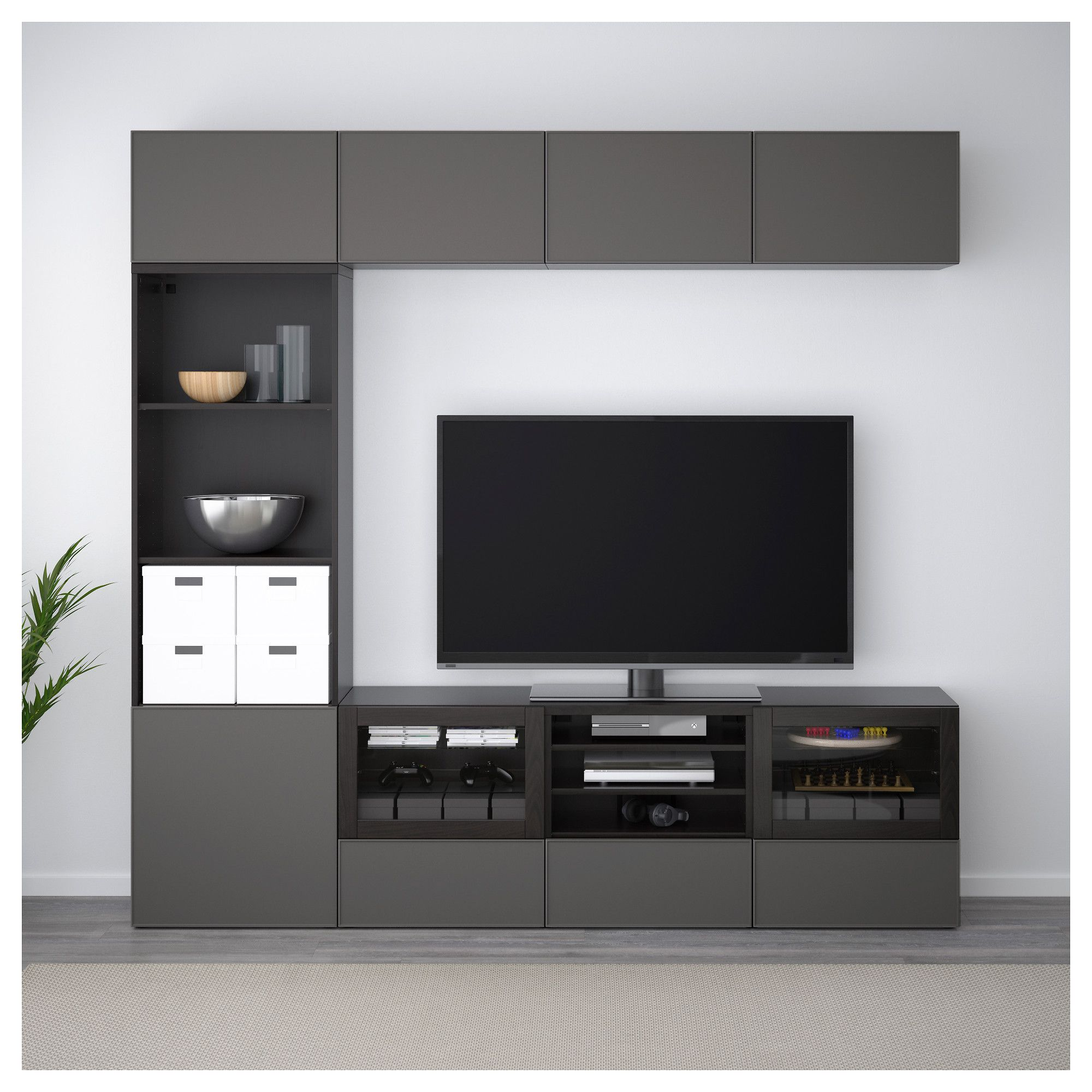 Besta Tv Ikea BestÅ Tv Storage Combination Glass Doors Black Brown Ikea