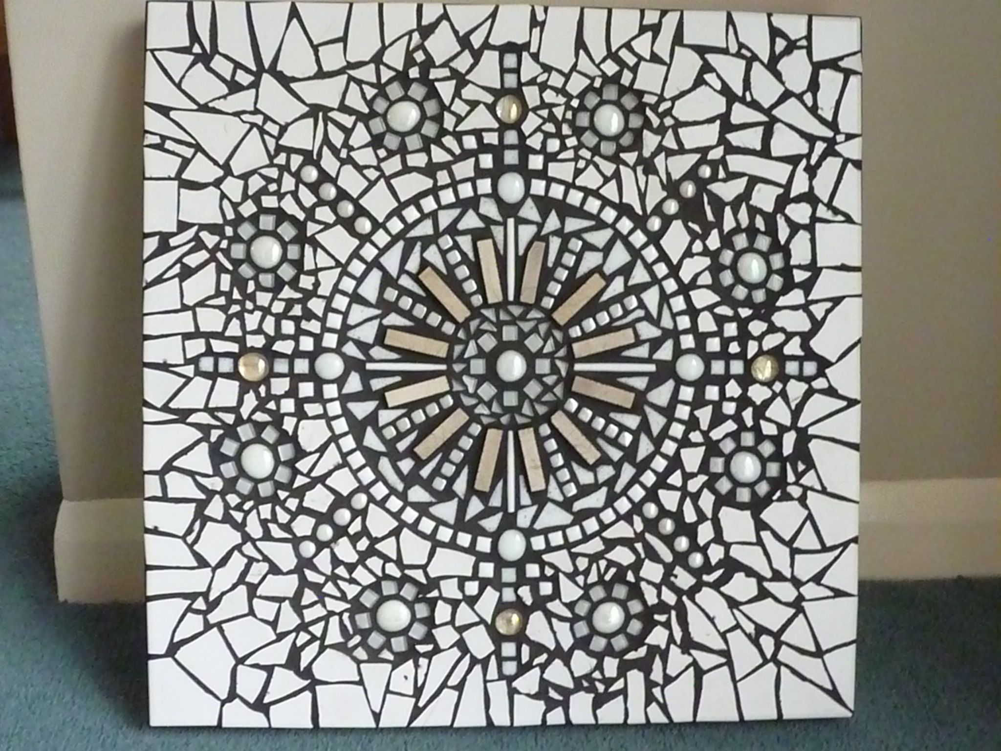 Grout Mosaic Tile White Tiles Glass Beads With Black Grout Black And White
