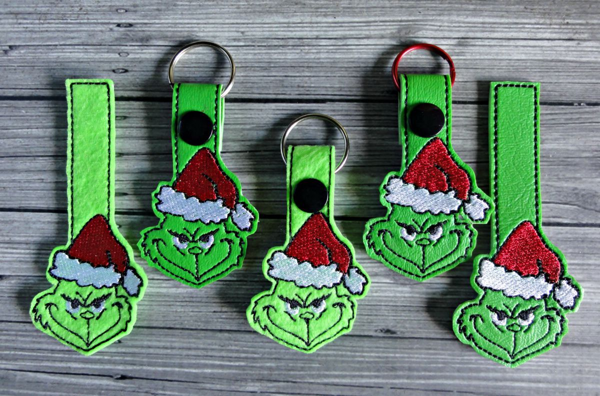 Grinch Keychain ITH Embroidery Design | Snap Tabs