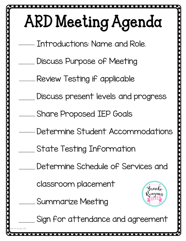 Special Education Meeting Agenda Teaching Special