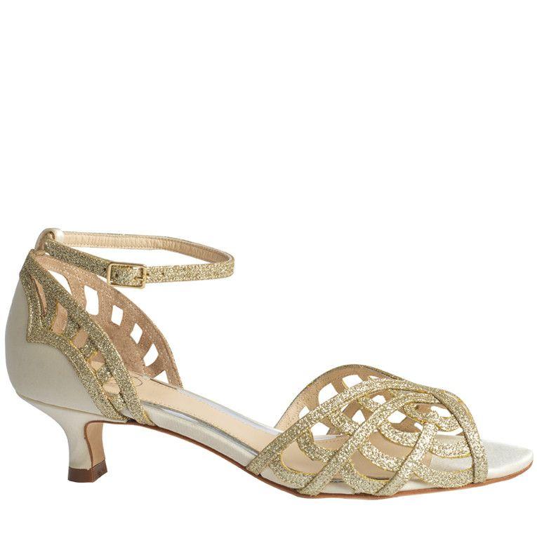 48d143ba15dc Gold bridesmaid shoe. 40mm - Karis Cream Kitten Heel Wedding Shoes