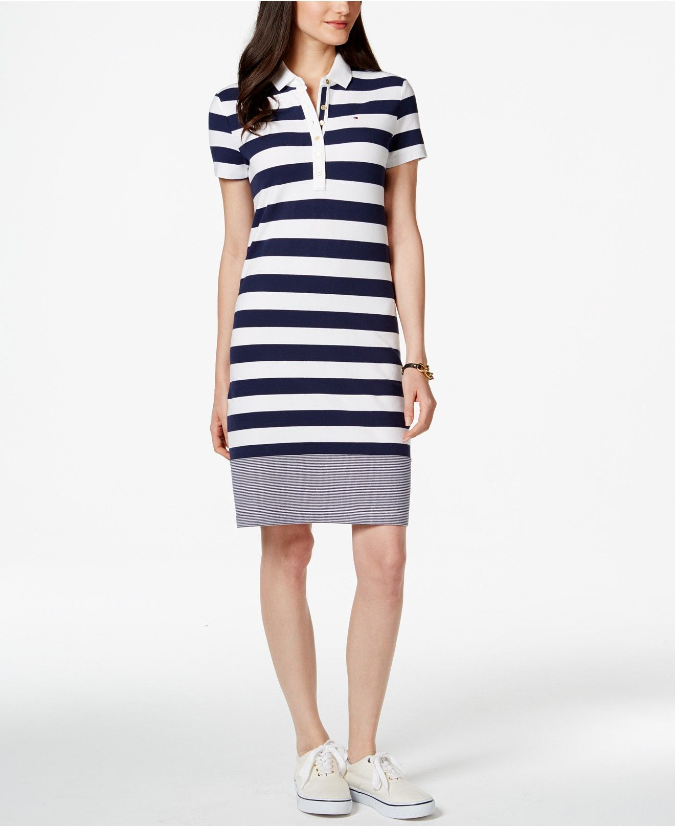 9c592d41 Tommy Hilfiger Miranda Short-Sleeve Striped Polo Dress - Dresses - Women -  Macy's