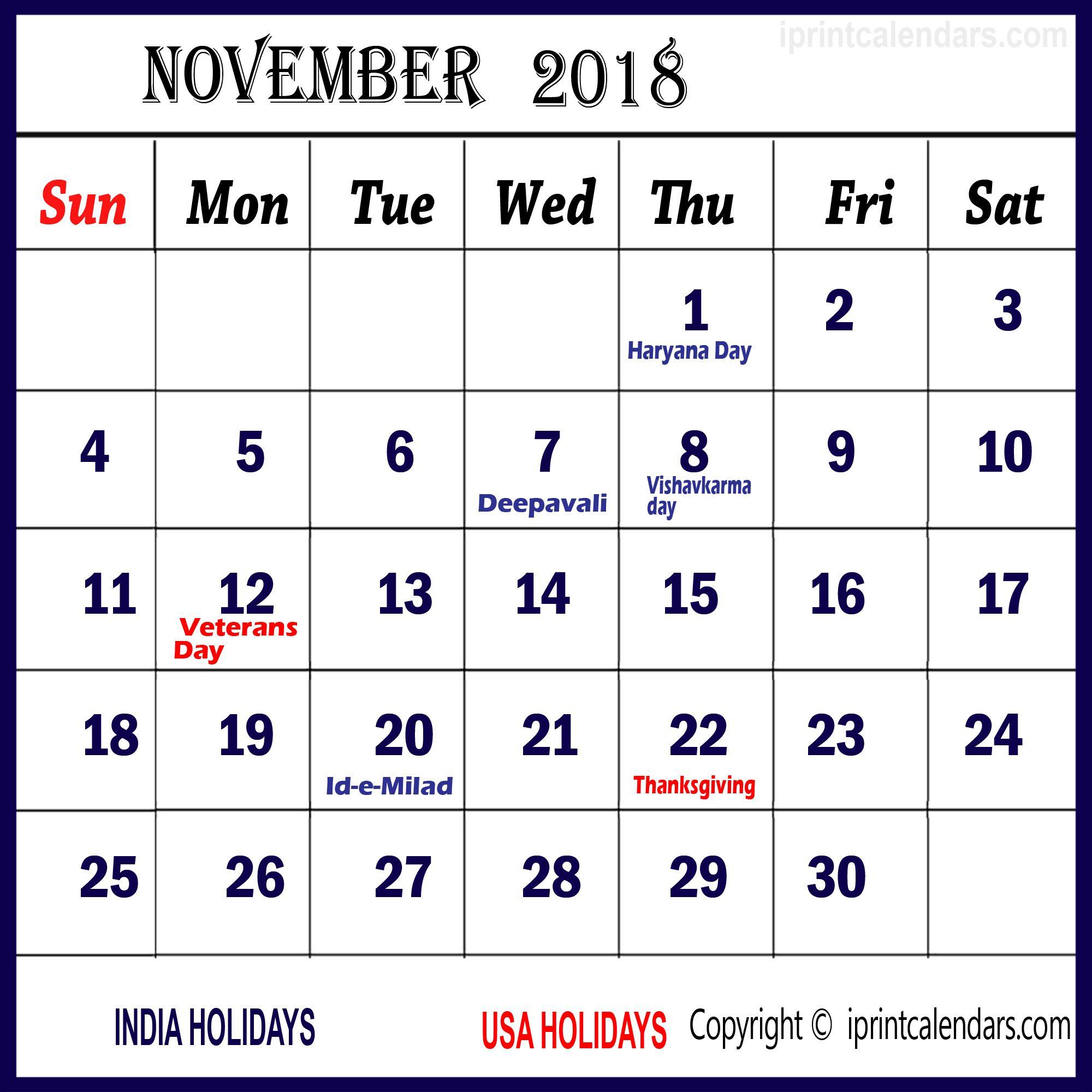 November 2018 Calendar Holidays India November Holidays 2018