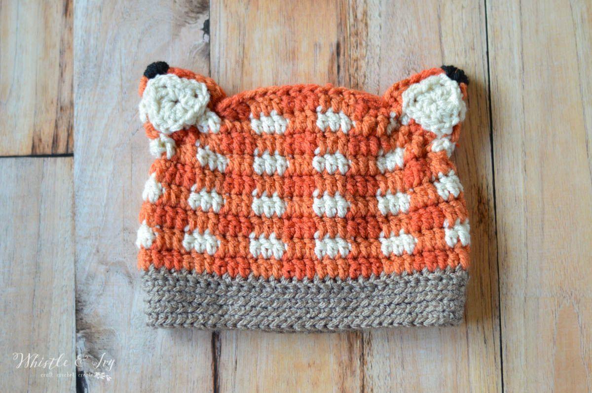 Crochet Plaid Fox Hat   Ganchillo