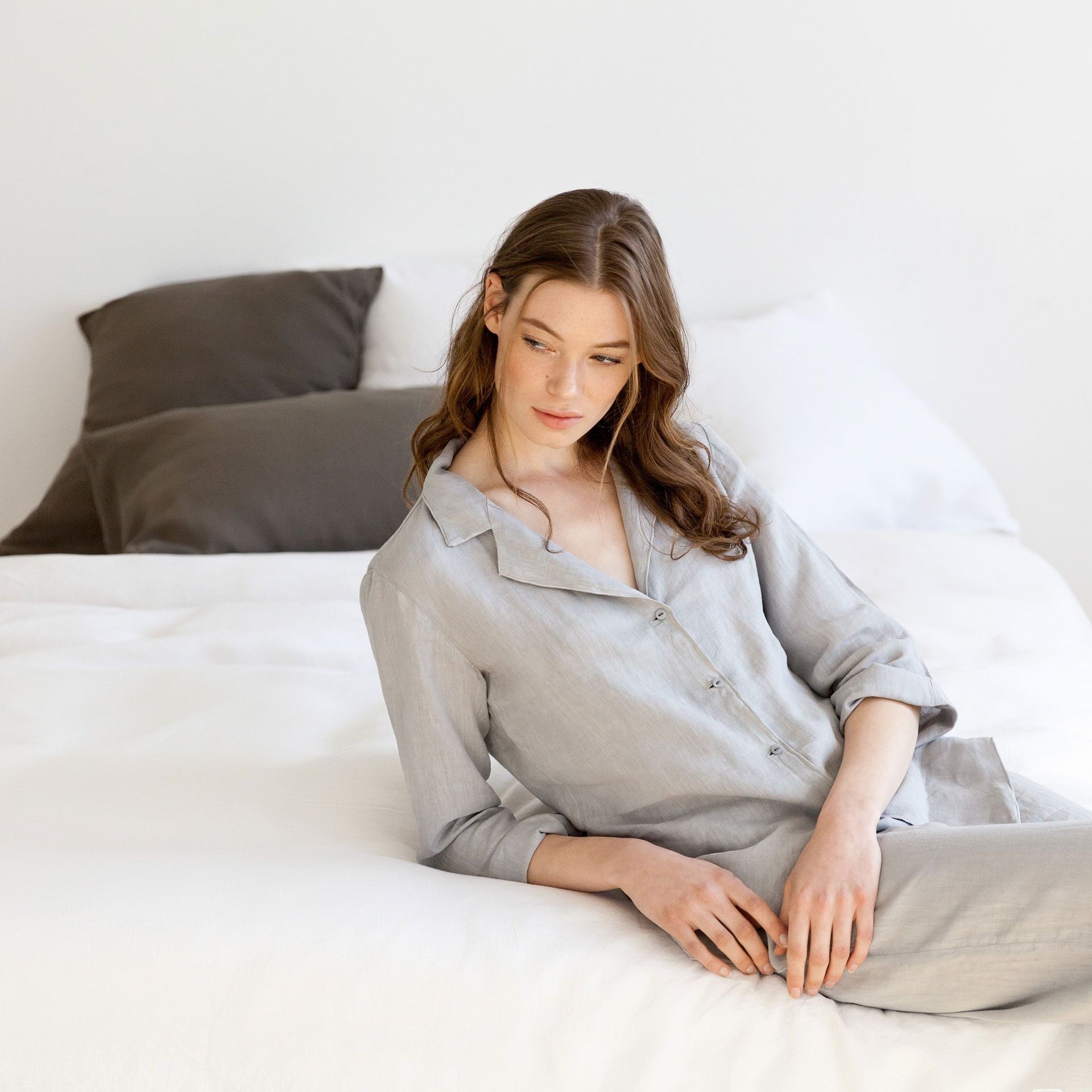 grey linen shirt - clothing - woman