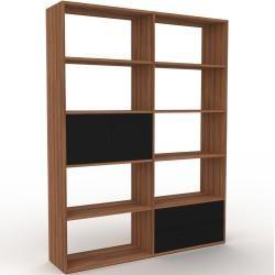 Photo of Holzregal Nussbaum – Modernes Regal aus Holz: Schubladen in Schwarz & Türen in Schwarz – 152 x 195 x