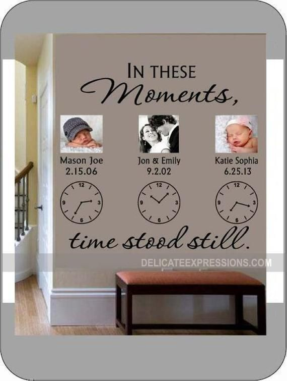 Photo of In These Moments Time Stood Still * Personalized Wall Decal * Family Wall Decal * Clock Wall Decal * Vinyl Lettering * Custom Wall Decal