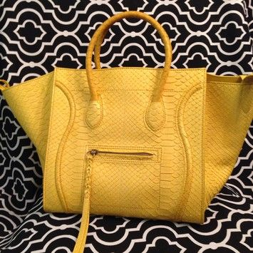 a10d63e726c Celine Medium Phantom In Python Yellow Tote Bag. Get one of the hottest  styles of the season! The Celine Medium Phantom In Python Yellow Tote Bag  is a top ...