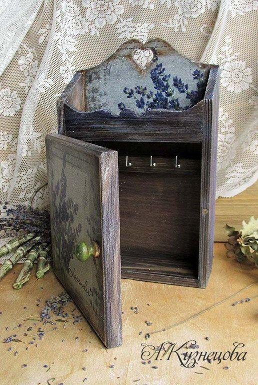 Vintage Style Key Box Wall Key Holder Wooden Key Box Key Safe Box Provence Style Lavender Violet Blue Grey Color Key Wall Key Holder Key Box Wooden Key Holder