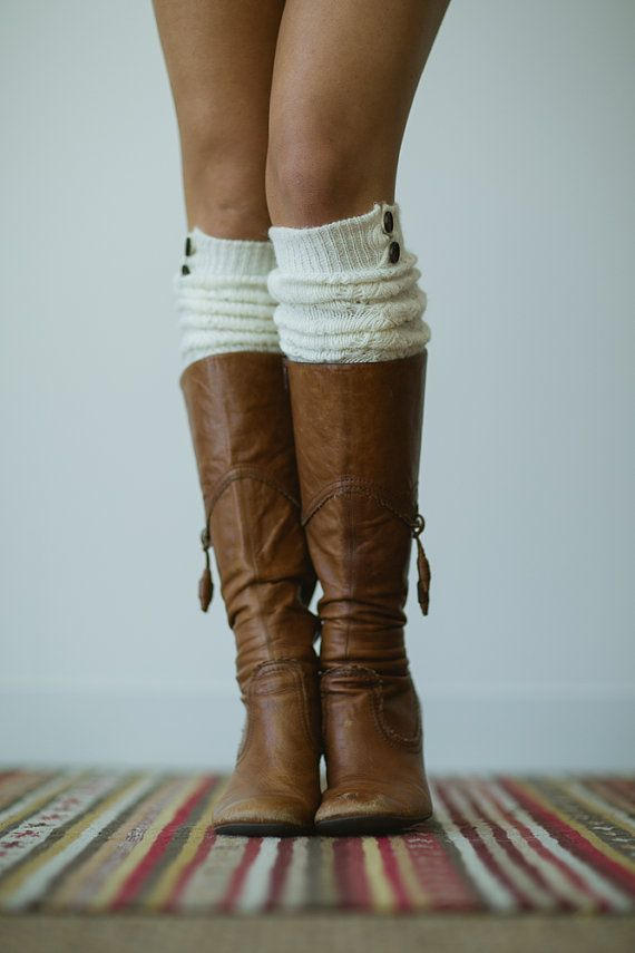 Knitted Boot Socks Over the Knee Button