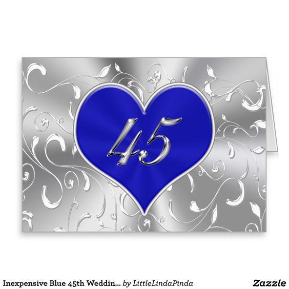 Inexpensive Blue 45th Wedding Anniversary Card Click Zazzle