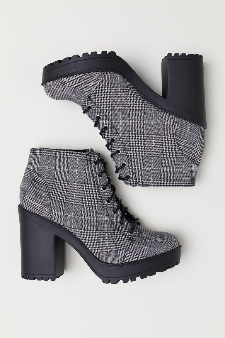 Platform Ankle Boots - Black/houndstooth-patterned - Ladies | H&M US