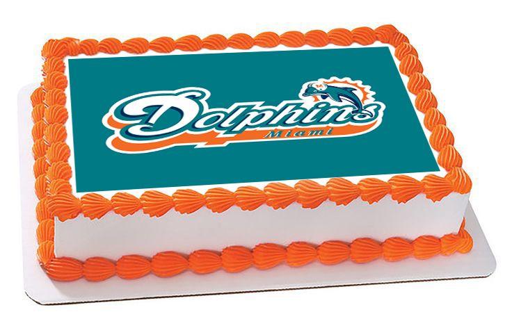Miami dolphins edible cake topper or cupcake topper