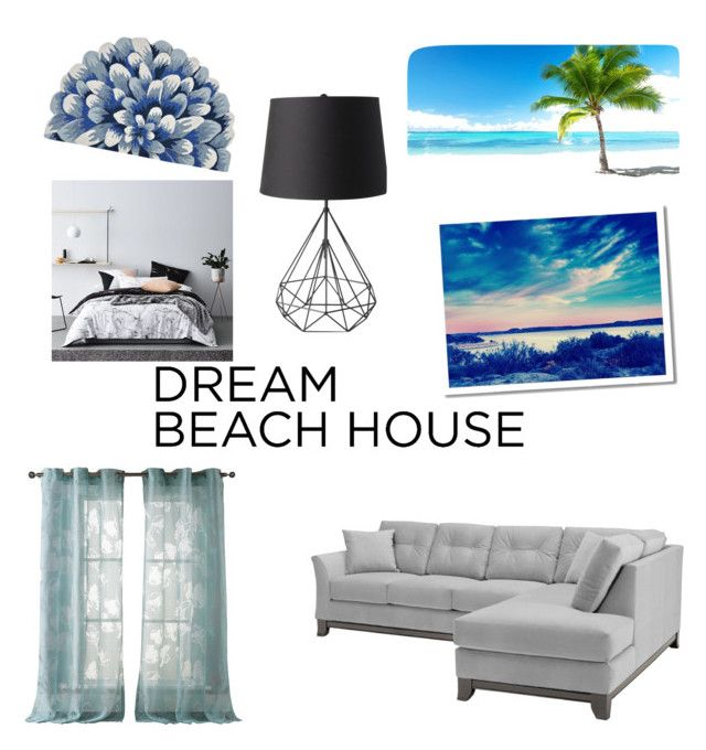 """""""DREAM BEACH HOUSE"""" by bringmetheromanticdaytoremeber ❤ liked on Polyvore featuring interior, interiors, interior design, home, home decor, interior decorating, CKK Home Decor, Kensie and West Elm"""