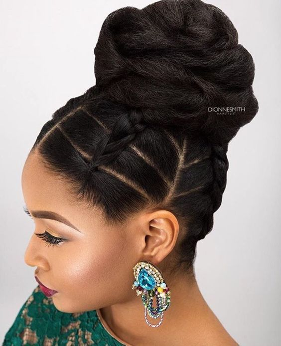 Hair Style Dark Skin Black Braids High Bun Earrings
