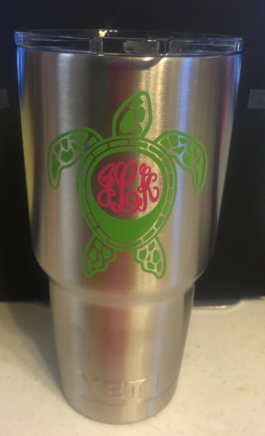 Sea Turtle Personalized Yeti Tumbler With Monogram Or Initials By - Yeti tumbler stickers