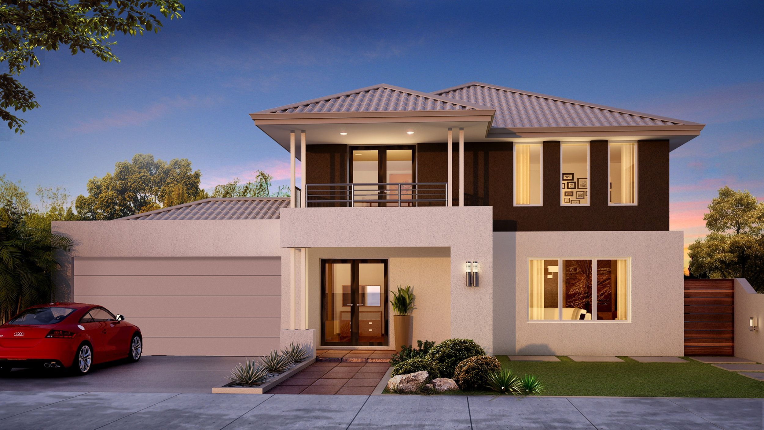 25 Fabulous Two Storey House Designs For Romantic Young Families Teracee Two Story House Design Double Storey House House Design Pictures