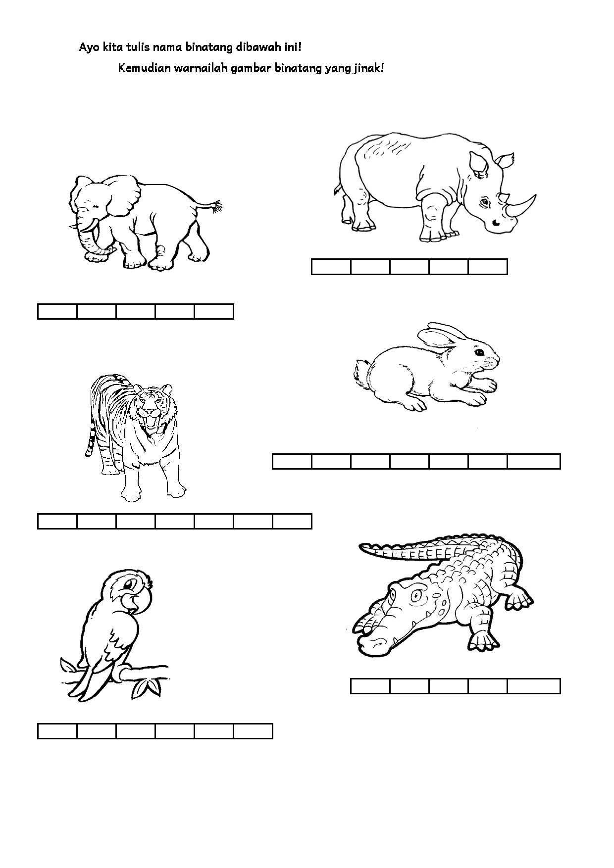 Di Kebun Binatang (Dengan gambar) Lembar kerja, Membaca
