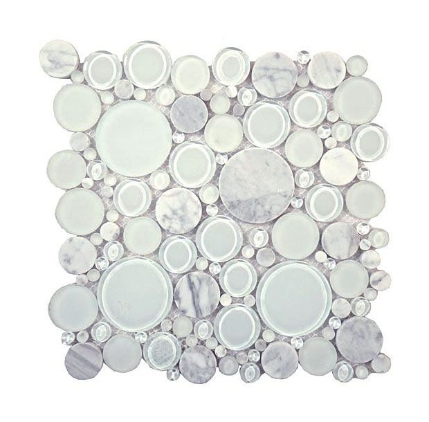 Round Bubble Glass Natural Stone Marble Mosaic Tile Bfs 101 White Dove Interlocking Sheet Bubble Glass White Doves Stone Mosaic