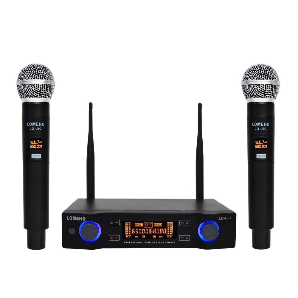 Lomeho LO-U02 2 Handheld UHF Frequencies Dynamic Capsule 2 channels Wireless Microphone for Karaoke System #karaokesystem