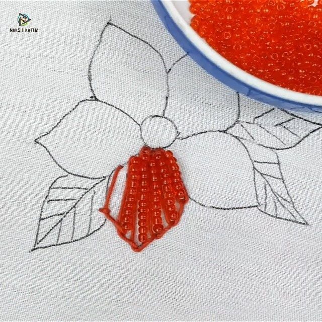 Hand embroidery flower design with pearl