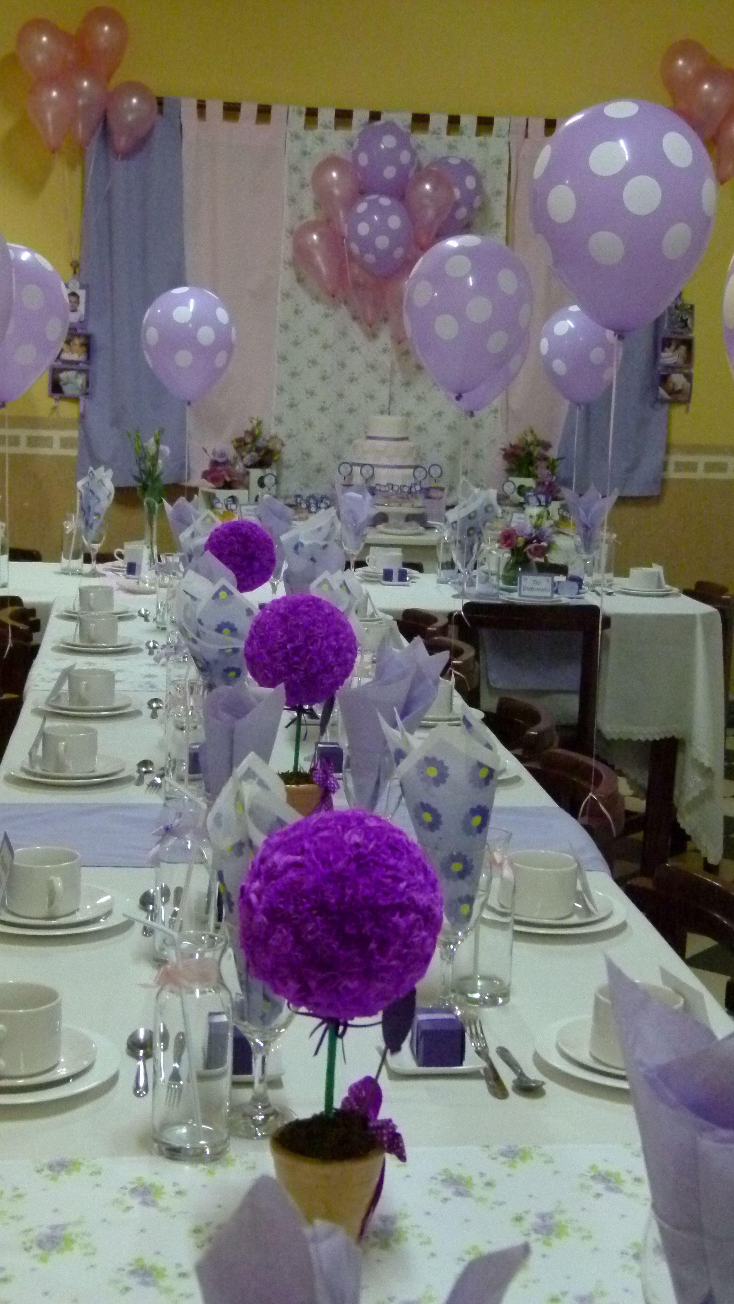 La mesa y sus detalles en malva fiestas y celebraciones - Mesas para comuniones ...