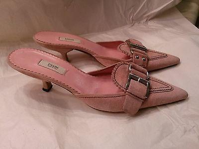 Prada Pink Suede Leather Kitten Heel Mules Shoes 36 Slides Slip ...